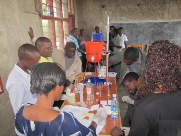 Teachers being trained in using Chemistry Lab materials at GS Munini